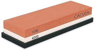 CACUSN 両面砥石・包丁研ぎ 仕上砥石 ステンレス・鋼両用 T4-1(本体+滑り止めゴム)
