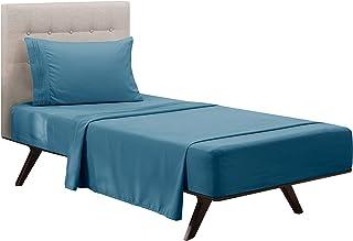 Clara Clark Premier 1800 Collection Deluxe Microfiber 3-Line Bed Sheet Set, Twin, Blue Heaven