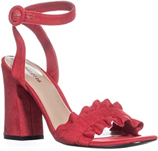 Womens Sandie Fabric Open Toe Casual Ankle, Medium Red, Size 7.5