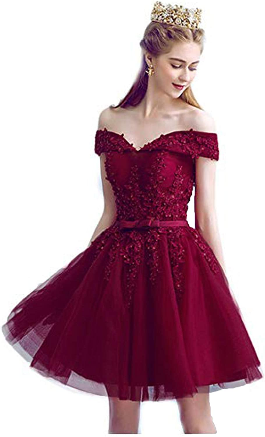 CIRCLEWLD Off The Shoulder Homecoming Dresses Short Corset Prom Gown Lace Tulle H77