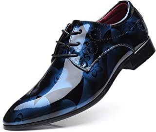 TAZAN Chaussures Homme Cuir Derby Lace-Up Bas élégant soirée Affaires Oxford Vintage Mariage Peint Marron Bleu Gris Rouge