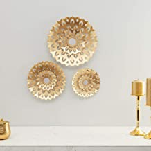 Home Centre Photomontage Textured Round Wall Decor-Set of 3Pieces - Gold