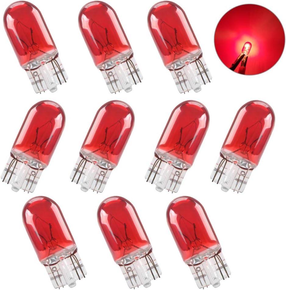 Teguangmei 10 X T10 W5W Bombilla Xenón Halógena de Rojo 194 168 501 Iluminación Interior de Cuña Lámpara de Matrícula DRL Luz Antiniebla Bombilla de Freno DC 12V 5W