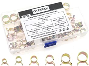 QTEATAK 60 Pcs Fuel Silicone Vacuum Hose Spring Band Type Action Pipe Clamp Low Pressure Air Clip Clamp SIZE: 6mm 9mm 10mm 12mm 14mm 15mm