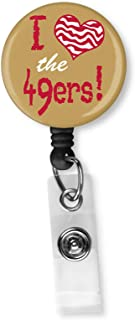 Football Team Inspired Retractable ID Card Badge Holder with Alligator Clip Name Nurse Decorative Badge Reel Clip on Card Holders (I Heart The 49ers)