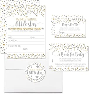 """Deluxe Gold & Silver Twinkle Little Star Baby Shower Party Bundle, Includes 20 Each of 5""""x7"""" Fill in Invitations, Diaper Raffle Tickets, Bring a Book Cards, 2"""" Thank You Favor Stickers, Envelopes"""