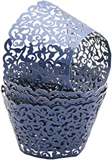 50/100pcs Cupcake Wrappers | Artistic Bake Cake Paper Filigree Vine Lace Laser Cut Liner Baking Cup Wraps Muffin Casetrays for Wedding Birthday Party and Engagement Decoration (50pcs-Navy blue)