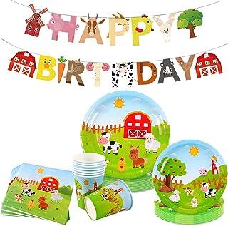 JeVenis 33 PCS Farm animals Party Supplies Farm animals Party Plates and Napkin Farm animals Birthday Banner