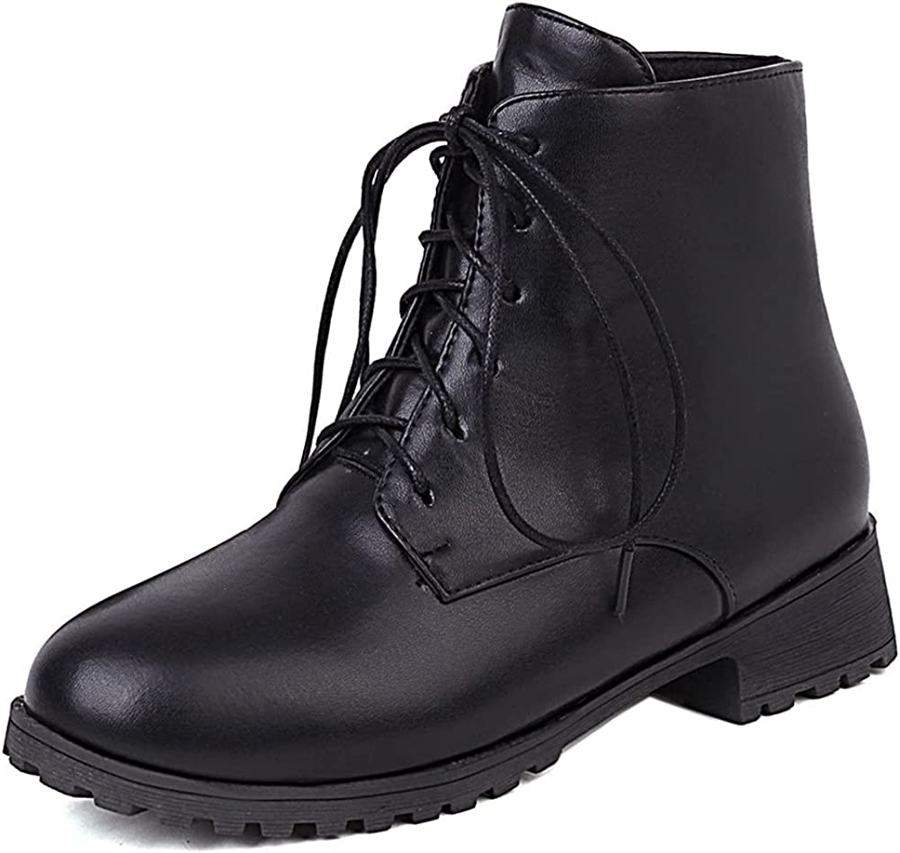 Womens Chunky Ankle Boots Mid Heel Lace-up Non-slip Winter Combat Boots Booties Motorcycle Knight Mid Calf For Women