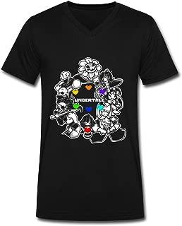 SOI Men's V-Neck T-Shirts Howdy The Flowey Face Black