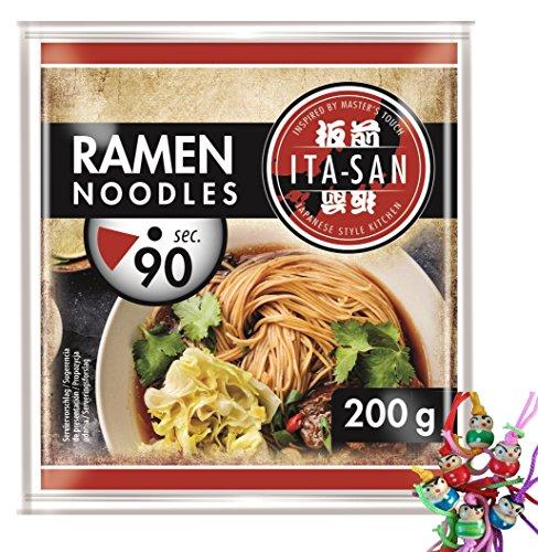 ITA-SAN Ramen Noodles [ 30x 200g ] Vorgekochte RAMEN Nudeln nach japanischer Art + ein kleines Glückspüppchen - Holzpüppchen