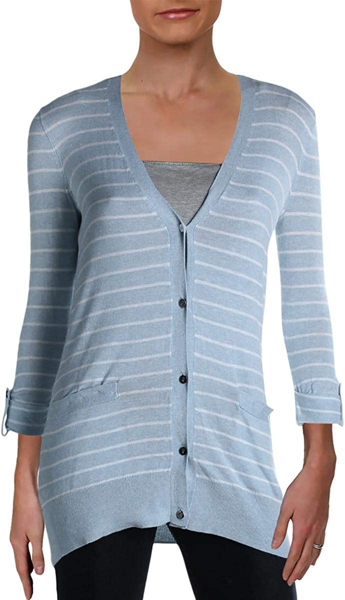 Ralph Lauren Womens Light Blue Pocketed Striped Long Sleeve Open Cardigan Wear to Work Sweater Size XS