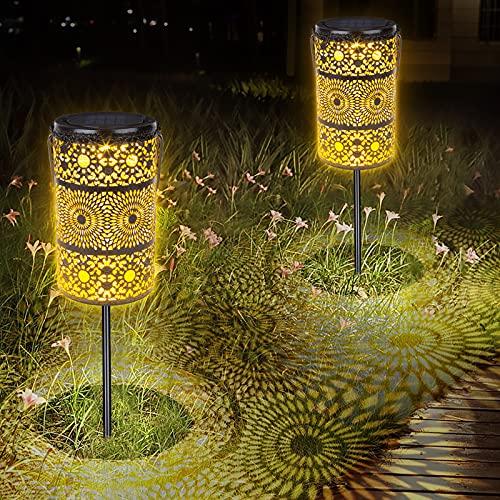 Solarlaterne Für Außen 2 Stück LED Solarleuchten Garten,Solar Laterne ,IP65 Wasserdicht ,Solar Gartenleuchte Deko für Außen Terrasse Rasen Weg Balkon