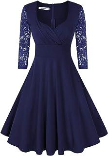 KOJOOIN Damen Vintage Kleid Cocktailkleid Abendkleid Rockabilly Kleid Taillenbetontes KleiderVerpackung MEHRWEG