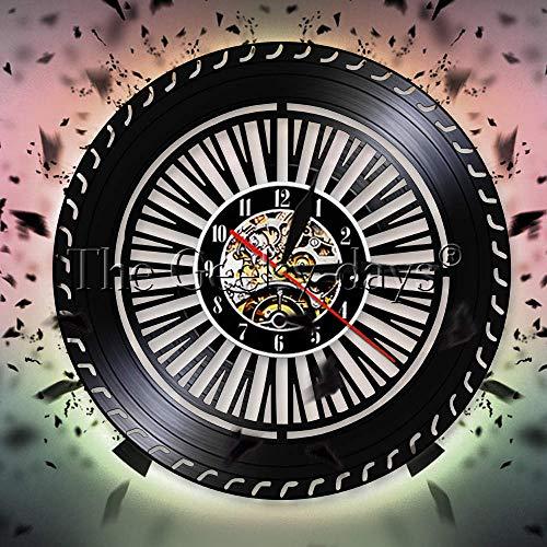 Reloj de Pared Decorativo de Pared de Rueda de Rendimiento de 7 Colores,Servicio de Coche de Rueda de Coche, reparación de Garaje, Reloj de Pared con Disco de Vinilo, reparadores