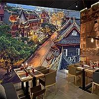 カスタムレトロな建物古代の町ストリートビュー壁紙壁布レストランソファテレビ背景壁3D壁画-130x60cm