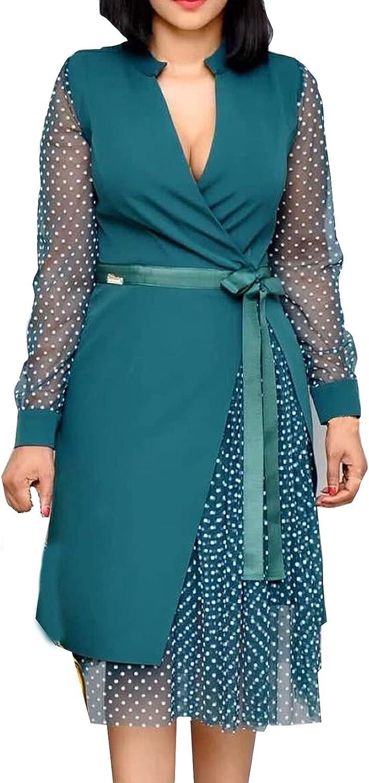 Womens Gauze Sleeve Formal Dress Trendy Casual V-Neck Polka Dot Tie Waist Patchwork Work Office Business Midi Dress