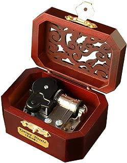 YouTang Music Box 18-Note Clockwork Creative Hollow Cover Wooden Musical Box,Musical Toys,Play Tori No Uta(Silver Movement)