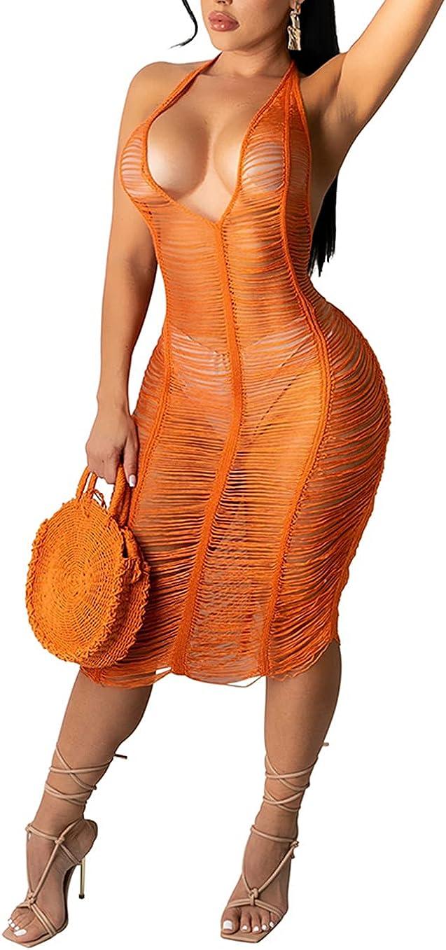 Women's Sexy Halter See Through Bodycon Dresses Deep V Neck Backless Club Midi Dress
