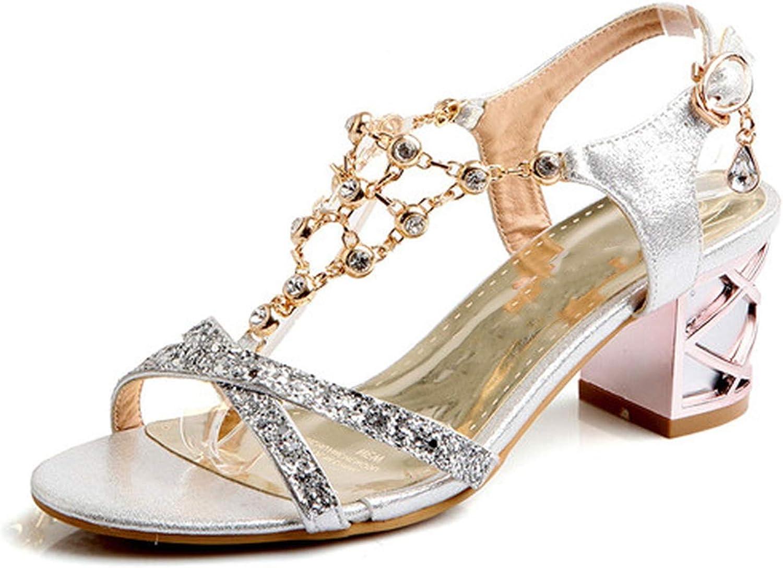 YuJi Women shoes Fashion Crystal Ladies Open Toe T-Strap Thick Medium Heels Rhinestone
