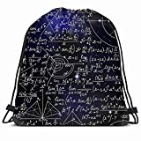 DHNKW Drawstring Backpack String Bag 14x16 Blue Algebra Math Space Pattern Handwritten Deep Science Astronomy Astrophysics Calculate Circle Complex Sport Gym Sackpack Hiking Yoga Travel Beach