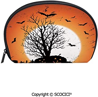 SCOCICI Printed Small Size Storage Makeup Bag Grunge Halloween Image with Eerie Atmosphere Graveyard Bats Pumpkins for Women Girl Ladies