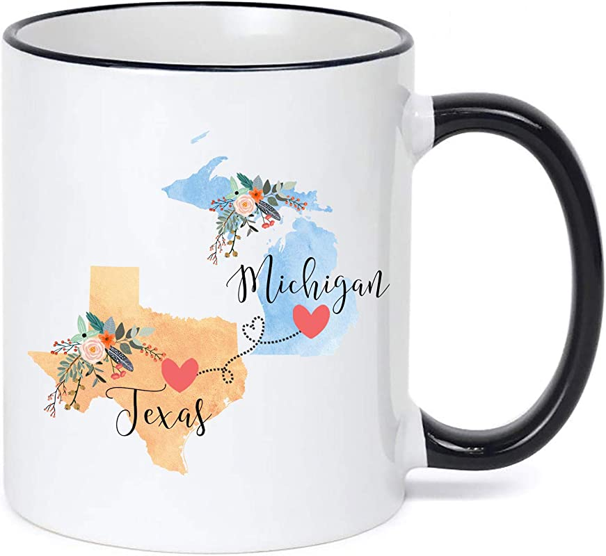 Texas Michigan Mug Coffee Cup Gift Best Friend Mom Girlfriend Aunt Grandma Birthday Mother S Day Going Away Present Moving New Job Gifts