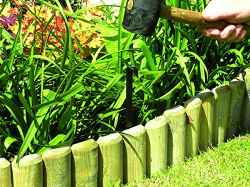 Valla divisora baja para jardín troncos, largo de 46cm