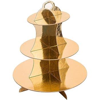 Lnlyin 3//étages mat/ériel Support de Plateau Rond /à g/âteau Cupcake Dessert Poign/ée Support de pr/ésentation pour f/ête de Mariage D/écoration de Table Taille Unique Silver