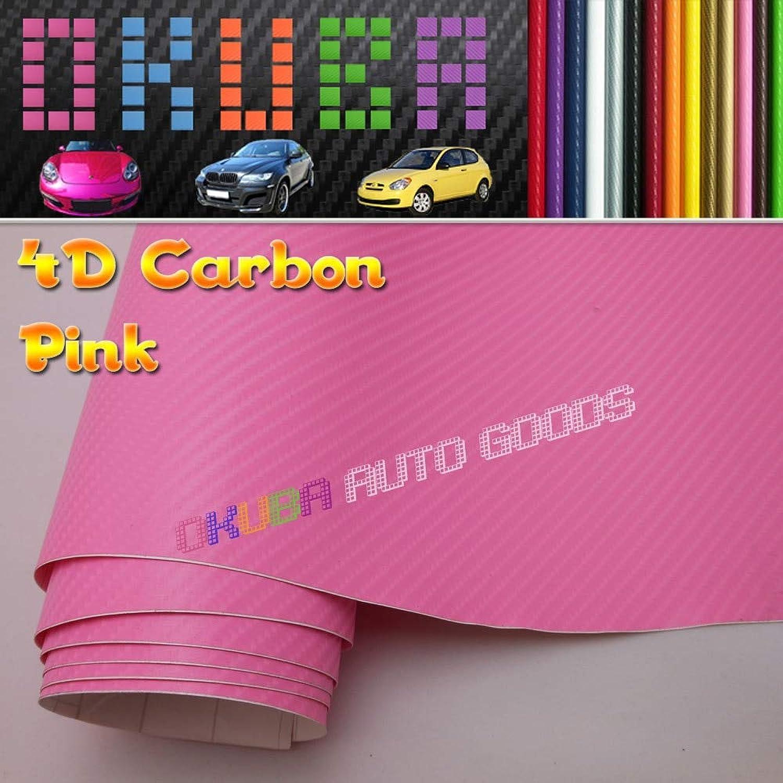 Free&Fast Worldwide Shipping by FedEx Pink 4D Carbon Fiber Vinyl Car Wrap Sticker Size 1.52m30m