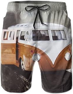 Maypu VW Bus Men's Sports Running Swim Board Shorts With Pocket No Mesh Lining