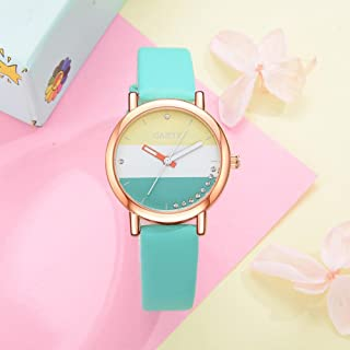 Leather Band Women Watches Multicolor Quartz Wristwatch Clock for Students