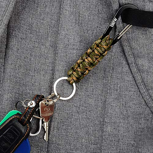 EOTW Paracord Keychains with Carabiner Clips, Lanyard Key Chain with Ring Hooks Hangers Survival Kits Heavy Duty Holder Army for Car Keys Bottle Camping Hiking Boys/Girls/Men/Women (Black+Camo)