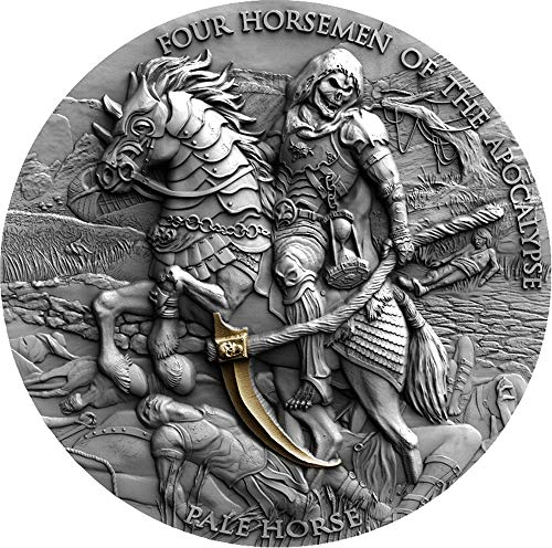 Pale Horse Caballo Negro Four Horsemen of The Apocalypse 2 Oz Moneda Plata 5$ Niue 2021