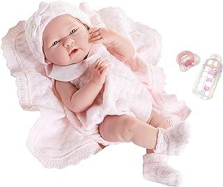Berenguer Realistic Little Girl Doll - Traje de punto rosa con manta, 15