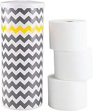 mDesign - Toiletrolhouder - voor de badkamer - vrijstaand/chevron patroon - grijs/geel