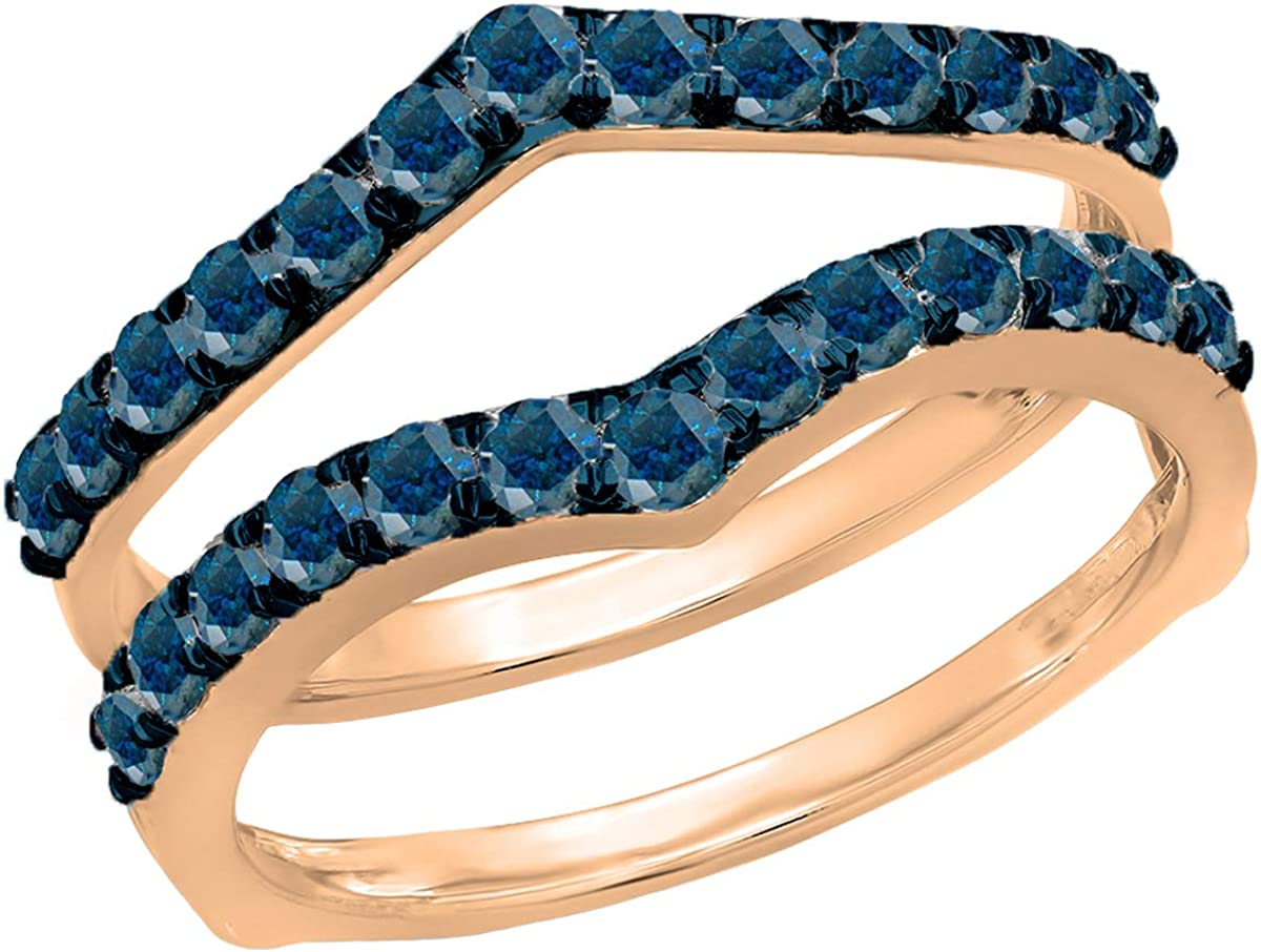 Dazzlingrock Collection 0.95 Carat Indefinitely ctw 14K Gold Blue Round Dia Challenge the lowest price of Japan ☆