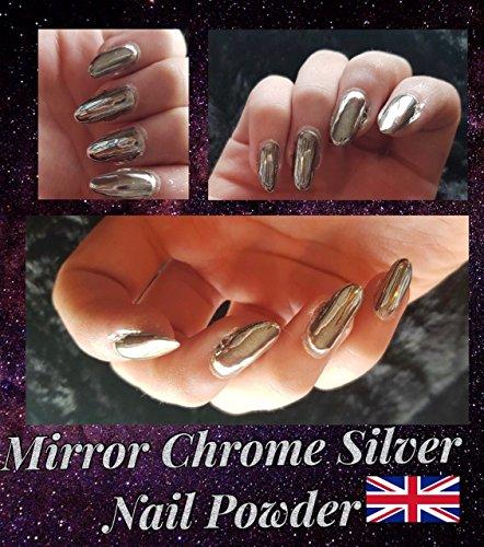 *GRATIS VERZEND* Fijne ZILVER SPIEGEL Nagels Effecten Poeder Chrome Pigment Stof UK
