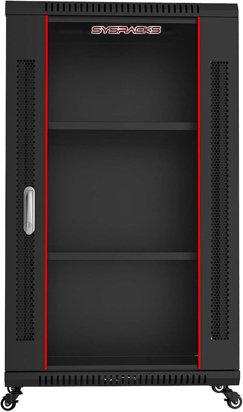 Server Rack – Wall Mount Rack - Locking Cabinet for Network - Electronics - Security - Audio - Video - AV Equipment - Data Rack - Legs/Power Strip/Shelf/Fan - 24-Inch Deep Sysracks… (18U)