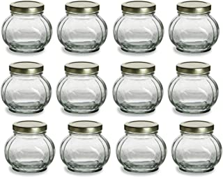 Nakpunar Round Glass Jars with Continuous Thread Gold Lids - Canning, Preserving (8 oz, Gold)