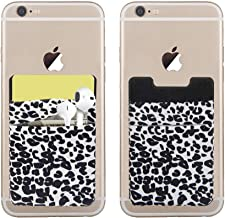 SS Phone-Card-Holder-Wallet-Pocket, 2 Pack Phone Card Holder Stretchy Lycra Stick On Cell Phone Wallet for Credit Card, Business Card ID and Keys, Phone Pocket for Almost All Phones (Leopard Print)