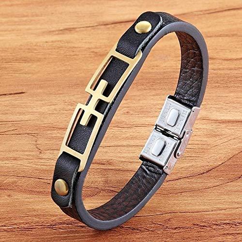 QFJCNZ Braccialetto Stile Maze Totem Bracciale in Pelle Color Oro Accessori per Impunture Gioielli per Ragazzo Moda Bracciale Regalo