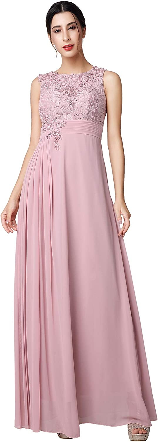 KAILINLANG Elegant Cap Sleeve Round Neck Party Evening Long Dress for Women
