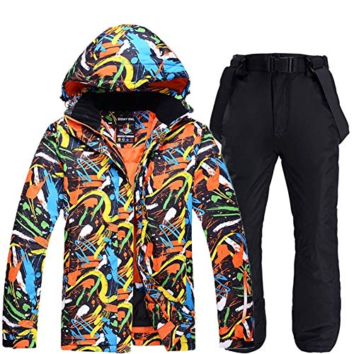 MIMIOOORE Ski Anzüge for Männer Veneer Doppel Platte Dickere Winter-Tide Marke Wasserdichten Outdoor-Warm Ski-Bekleidung (Color : 4, Size : JS+PS)