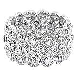 "Lavencious Infinity Shape Rhinestone Stretch Bracelet Evening Party Jewelry 7"" (Silver)"