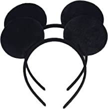 Set of 2 Black Costume Deluxe Fabric Mouse Ears Headband for Boys and Girls Birthday Party Decorations (Black)