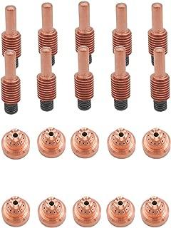 Donwind 10 pcs 220818 Shield cap & 10 pcs 220842 electrodes Fits Hypertherm Powermax 65 85 105 plasma cutting torch