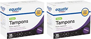 Equate Super Absorbent Tampons (For Moderate To Heavy Flow) With Plastic Applicator, Unscented - 36 Count - 2 Pack. (Includes 72 Tampons Total.)