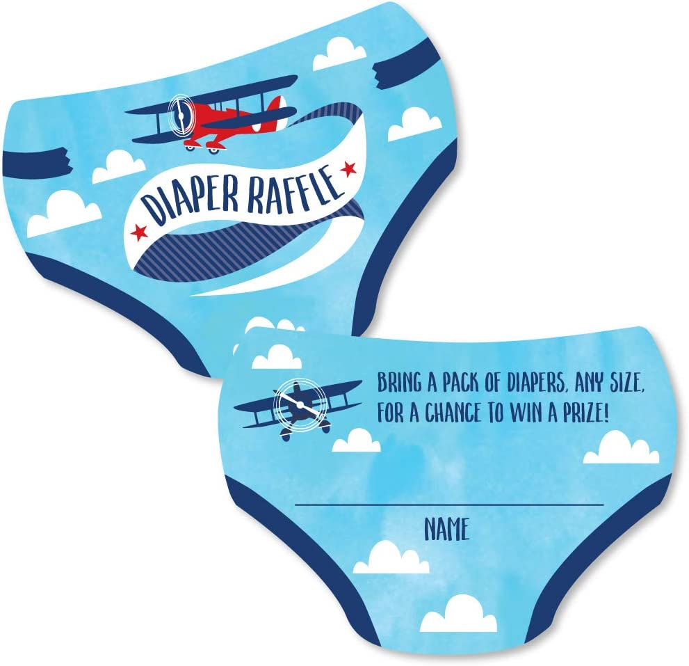 Big Dot of Happiness Taking Flight - Airplane - Diaper Shaped Raffle Ticket Inserts - Vintage Plane Baby Shower Activities - Diaper Raffle Game - Set of 24