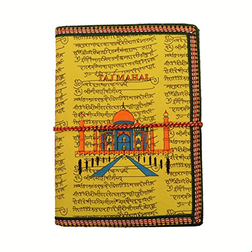 Purpledip Handmade Paper Journal 'Taj Mahal, Eternal Symbol Of Love': Vintage Diary Notebook With Thread Closure (11158)